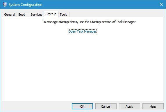 Go to Startup tab, and click Open Task Manager