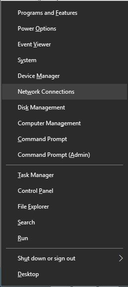 Network Connections from the menu