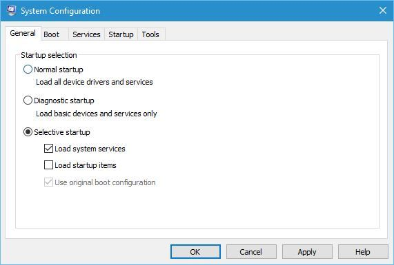 Selective startup and uncheck Load startup items