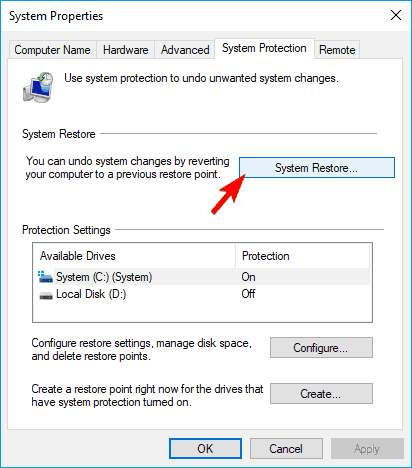 System Restore button