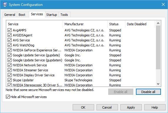 check Hide all Microsoft services and click Disable all button