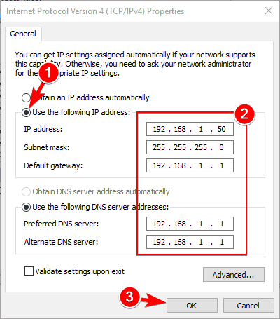 use the following IP address option