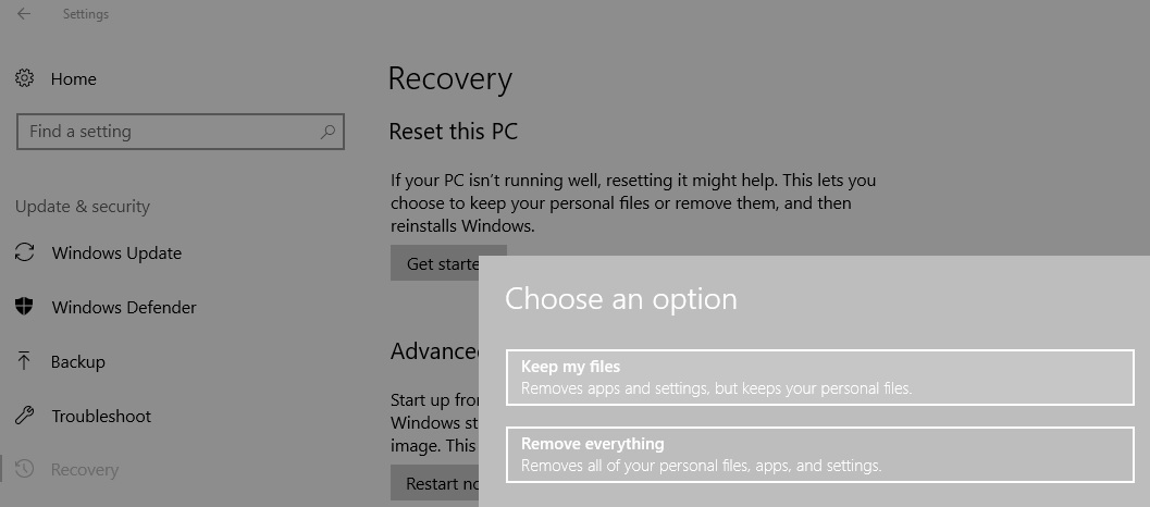Go to the Reset this PC option and then click on keep my files