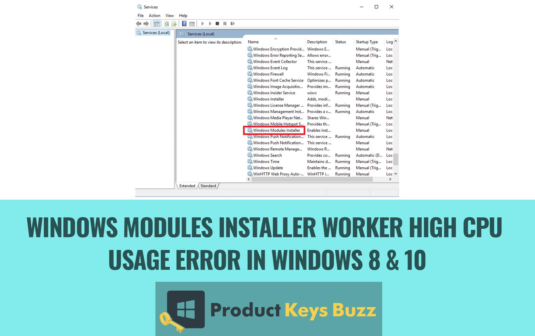 Windows Modules Installer Worker High CPU Usage Error in Windows 8 & 10