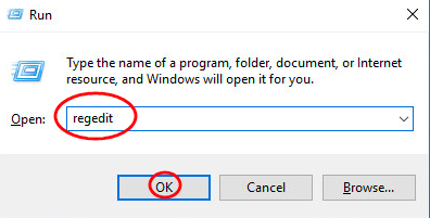 Enter Regedit on the dialogue box of run and press enter