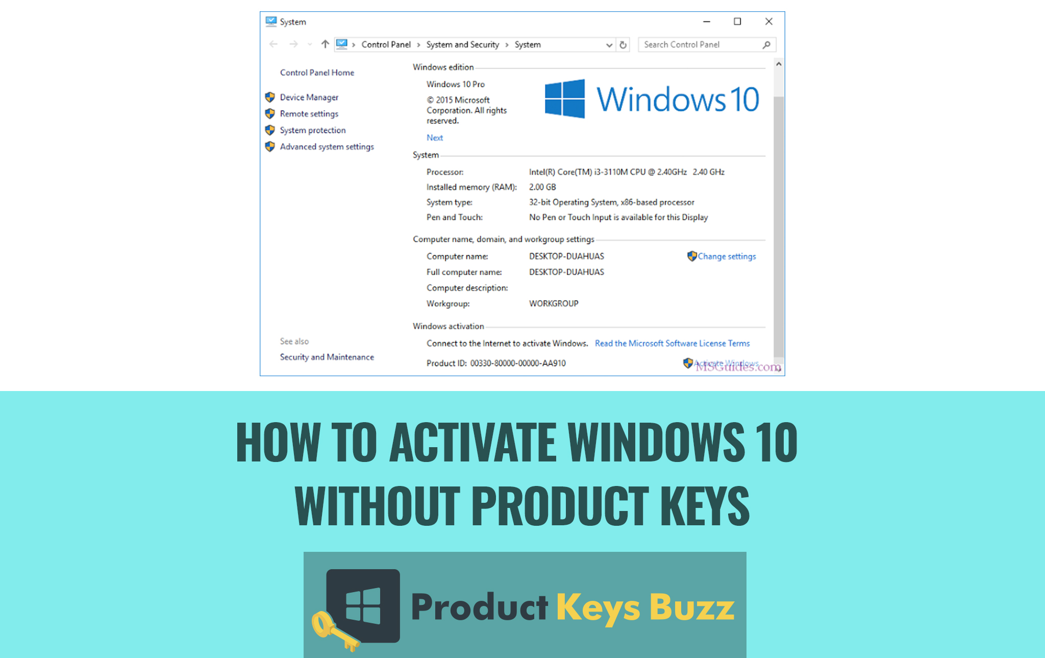How to Activate Windows 10 Without Product Keys