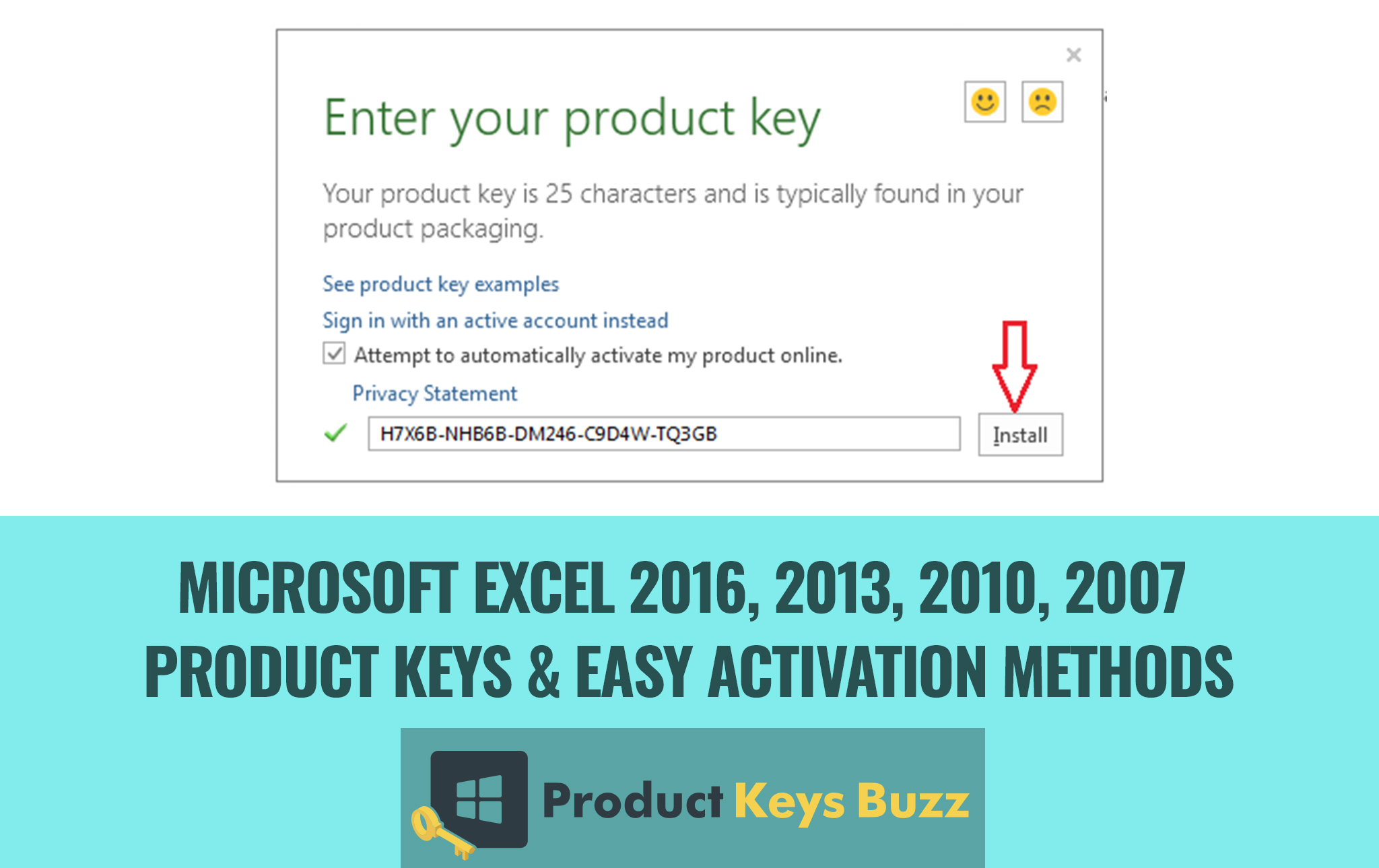 i need a product key for excel