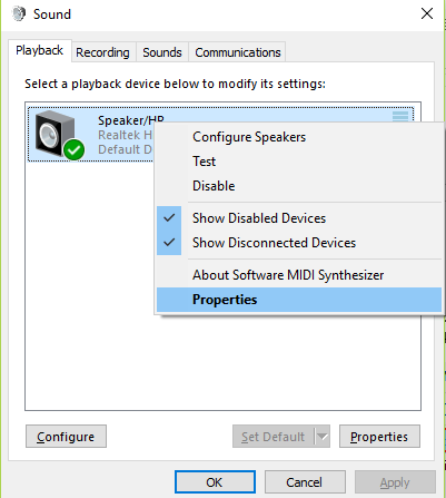Playback tab, click on Speakers and go to Properties