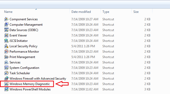 find Windows Memory Diagnostic option in the list