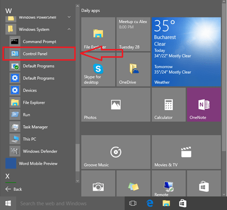go to Control Panel from the Start menu