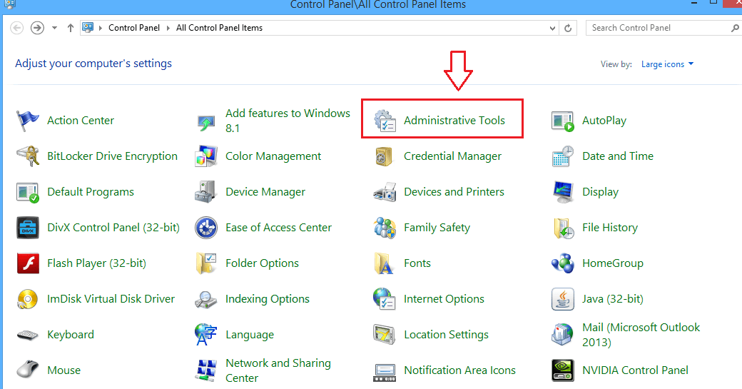 select choose Administrative Tools