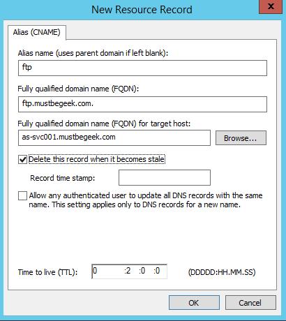 Add CNAME Record in Windows DNS Server