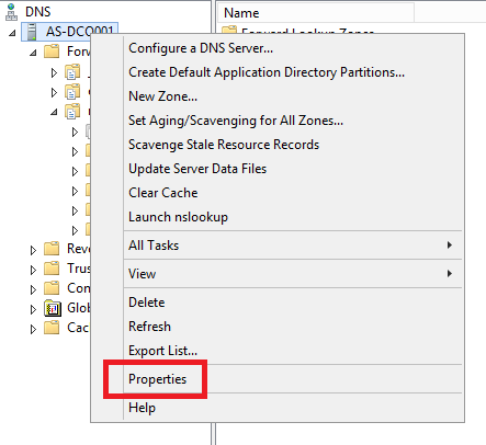 DNS Manager, right click on the server name then select Properties