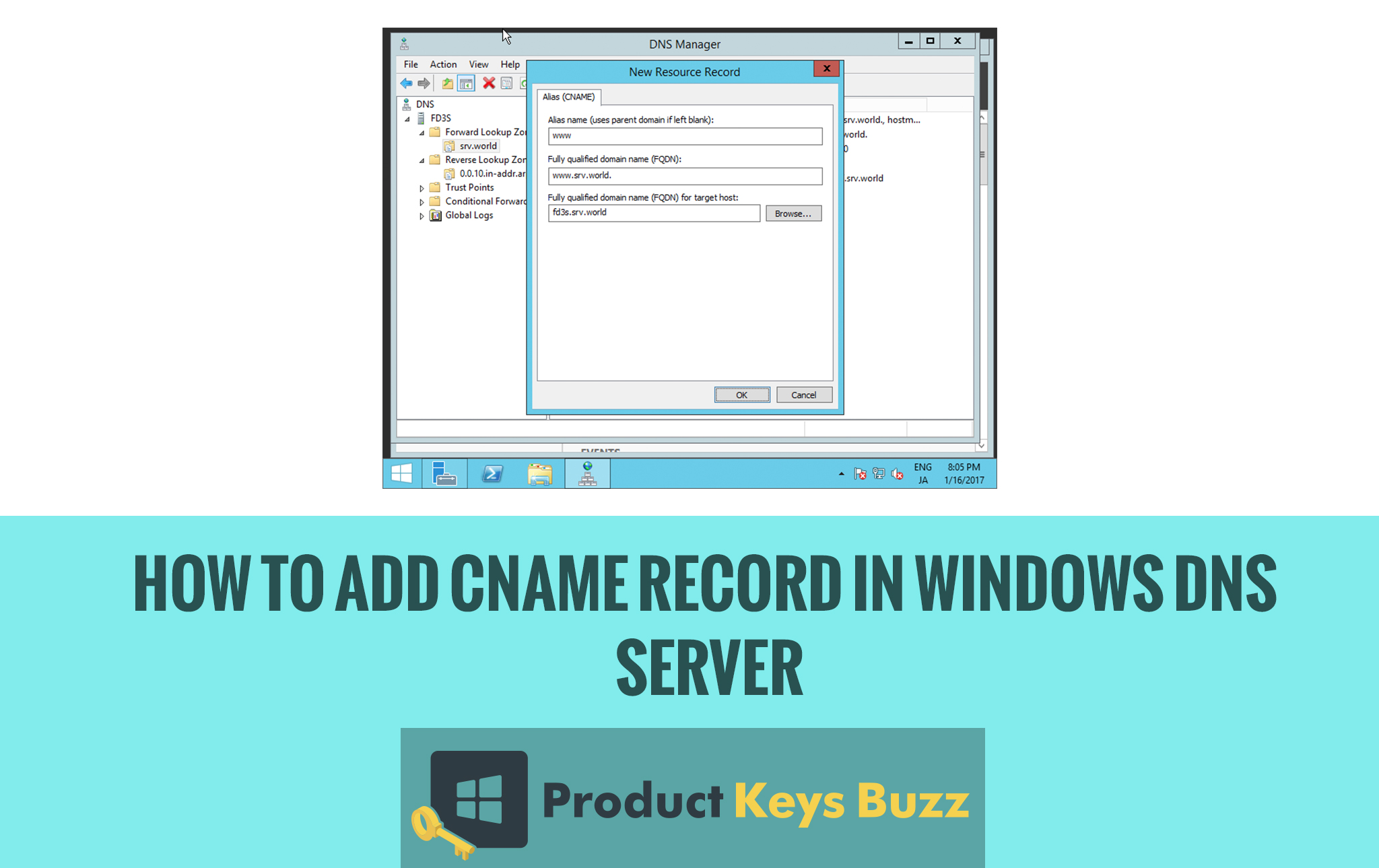 How to Add CNAME Record in Windows DNS Server