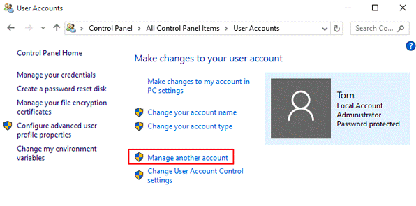 Manage another account link