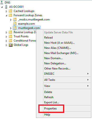 Right click on the zone name and select Properties