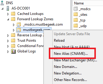 Right click on the zone name, then select New Alias (CNAME)