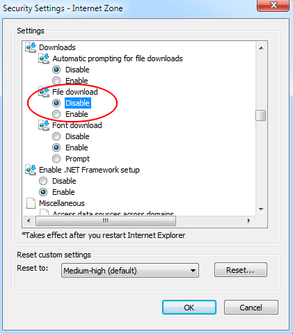 Security settings of the Internet Zone Window