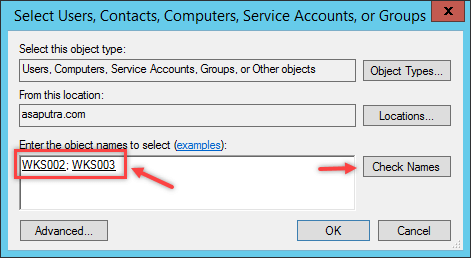 Select Users, Computers, Service Account or Group
