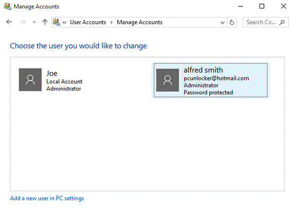 click on the Microsoft account if you wish to delete it
