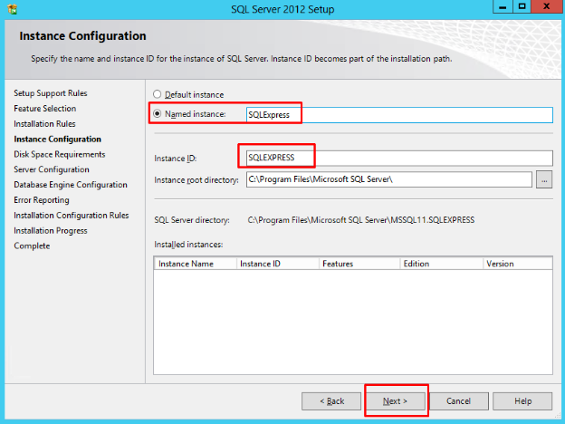 instant configuration page
