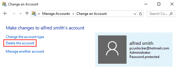select delete from the account option