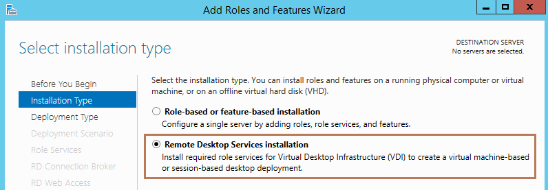installation type as a remote desktop service installation